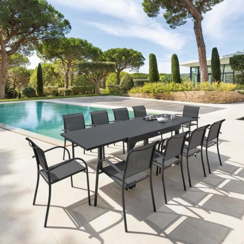 Hesperide - Table rectangulaire extensible Piazza 10 personnes graphite Hespéride - Tables de jardin