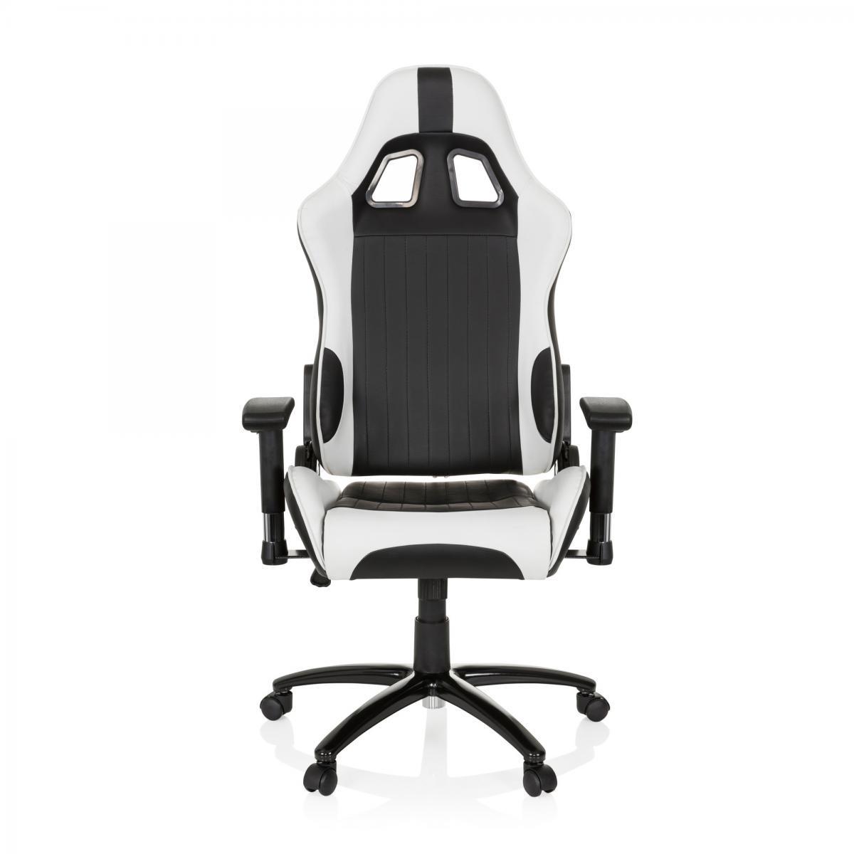 Hjh Office Chaise Gaming / Chaise de bureau siège baquet simili cuir MONACO II noir / blanc hjh OFFICE