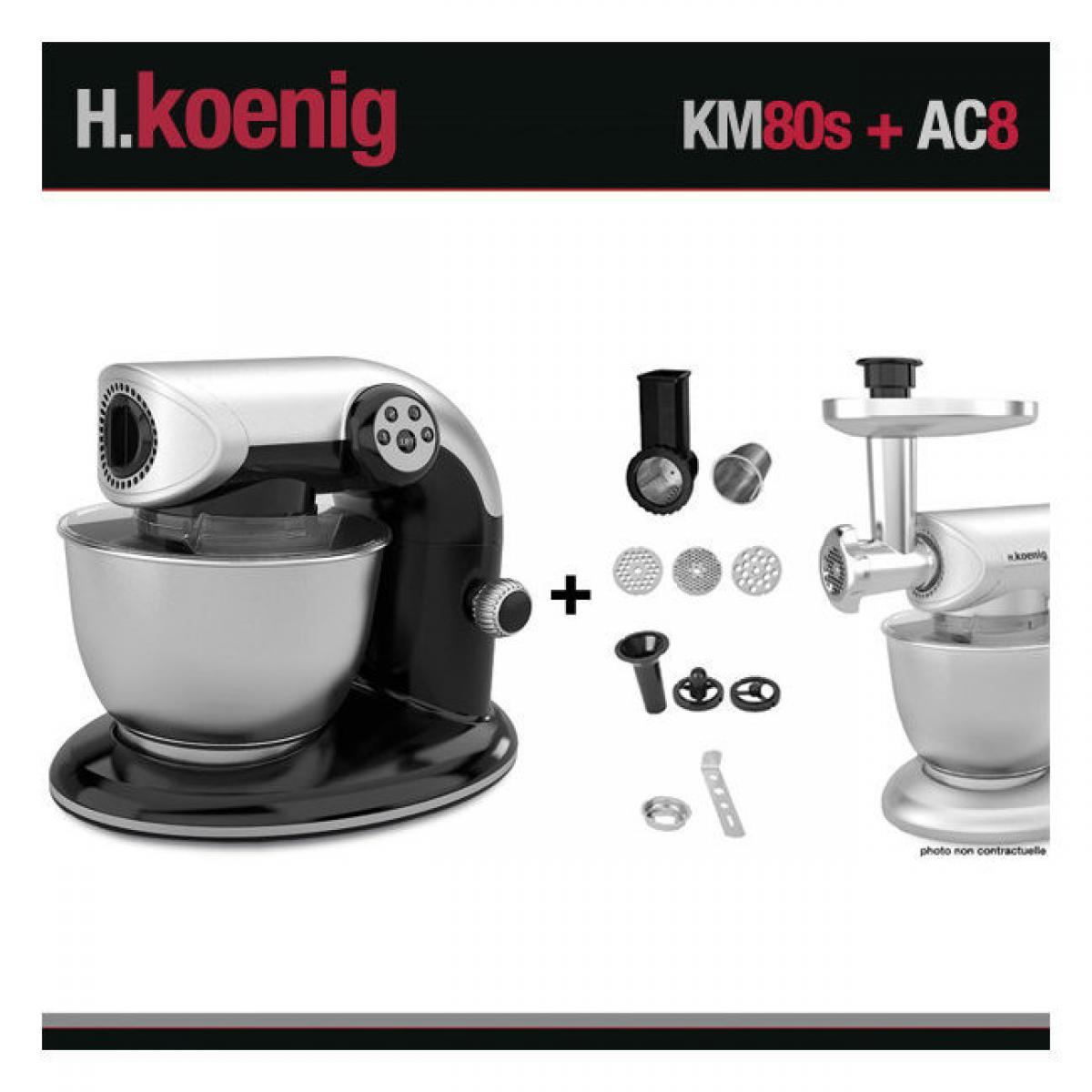 Hkoenig HKOENIG KM80 S NOIR + AC8 : ROBOT PETRIN 1000W+ ACCESSOIRES OPTIONNELS