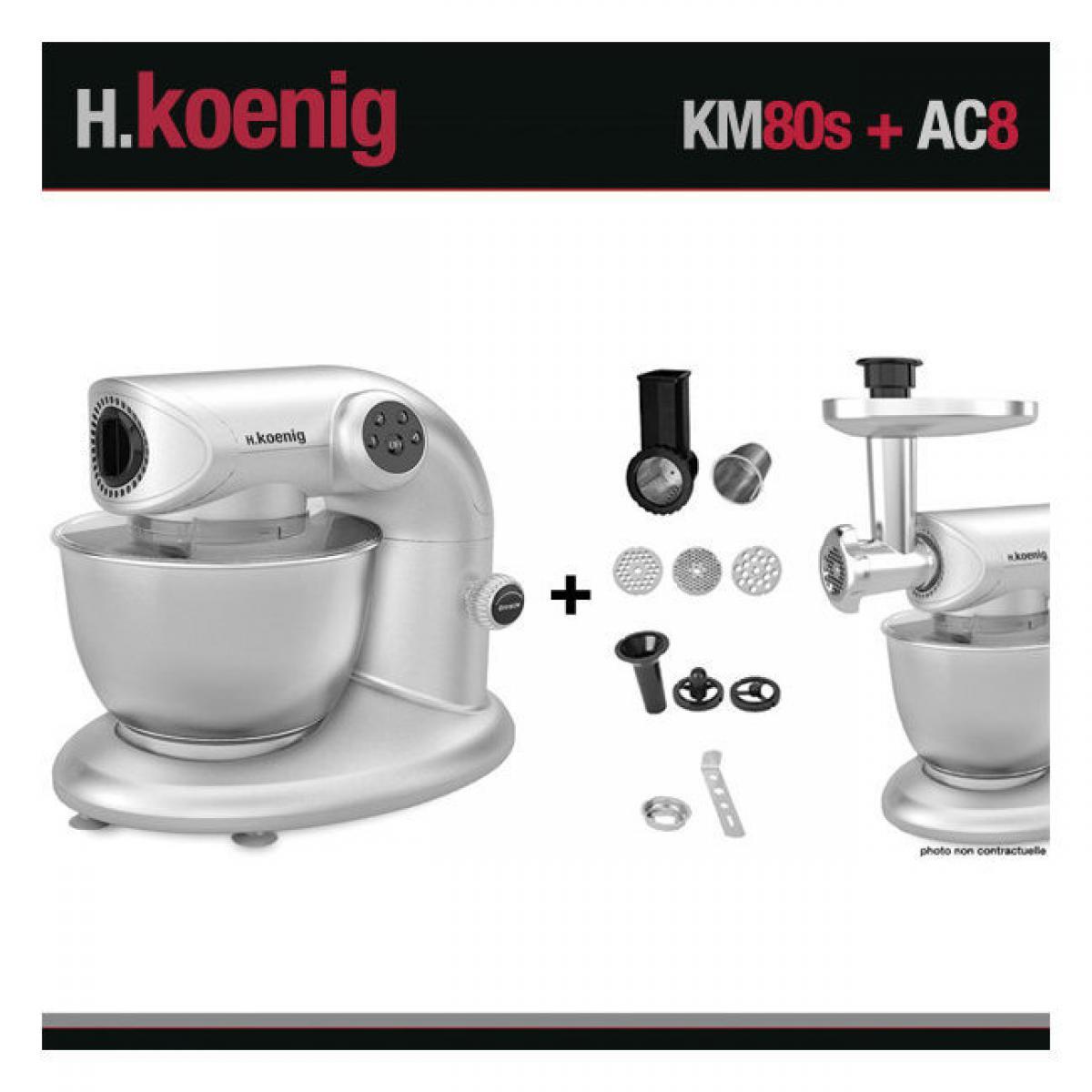 Hkoenig H.KOENIG KM80 S SILVER + AC8 : ROBOT PETRIN 1000W+ ACCESSOIRES OPTIONNELS
