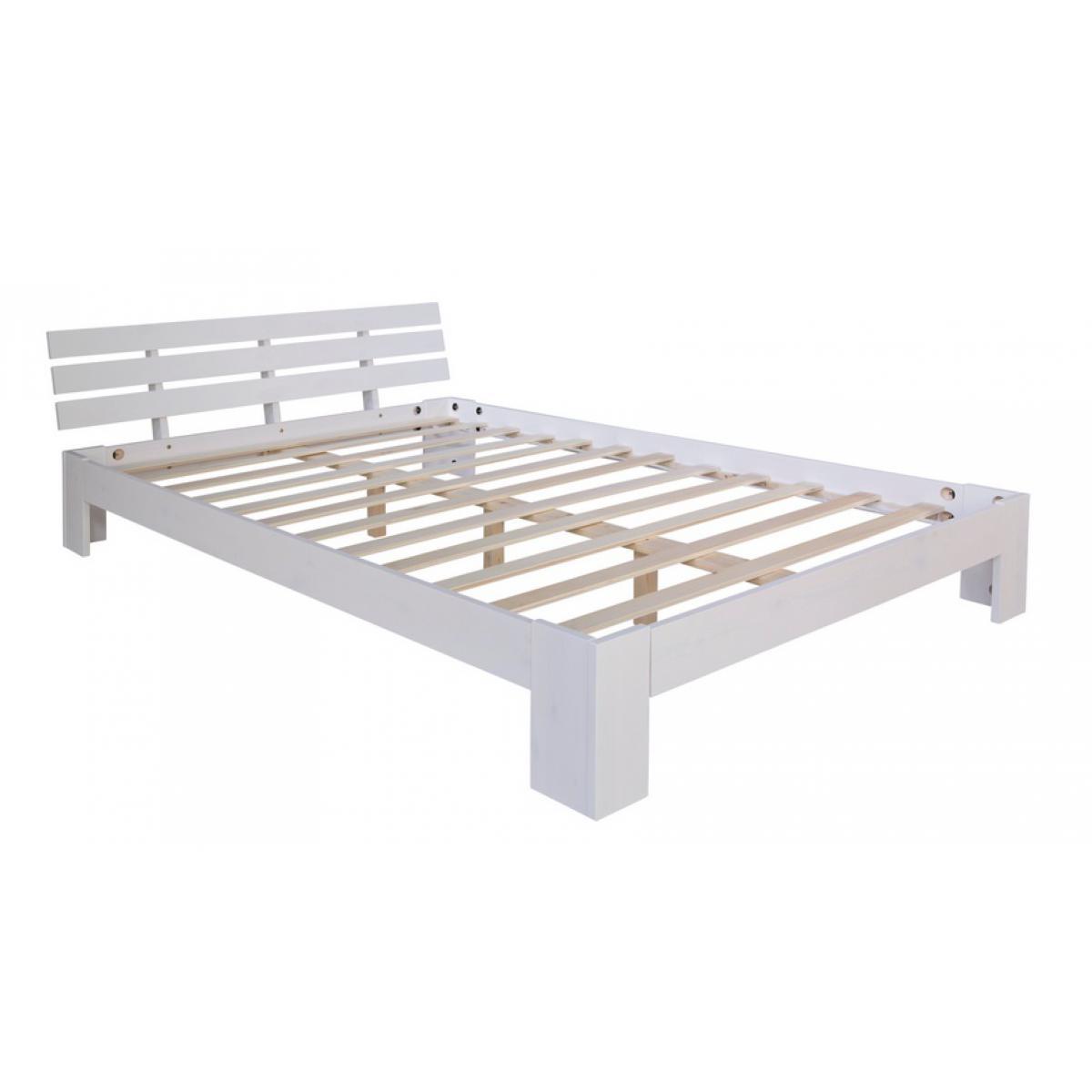 Homestyle4U Futon lit double 140x200 lit en bois blanc