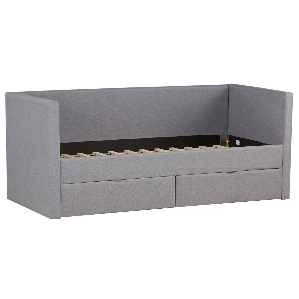 Homestyle4U Lit 90x200 avec 2 tiroirs de lit gris en tissu