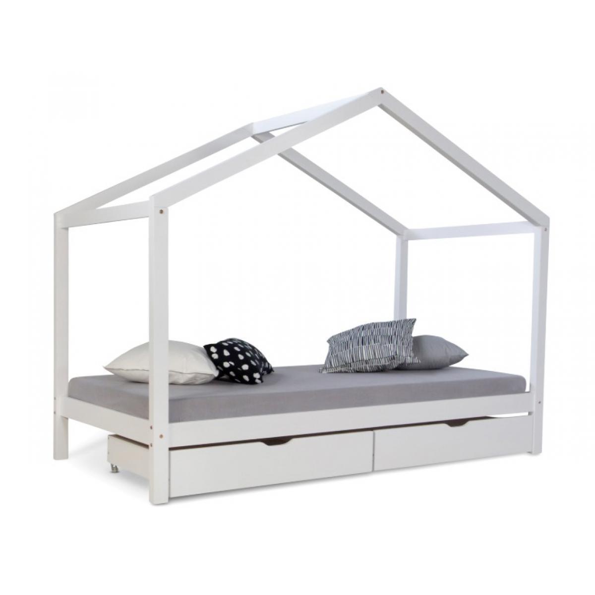Homestyle4U Lit cabane enfant 90x200 avec tiroirs bois Blanc