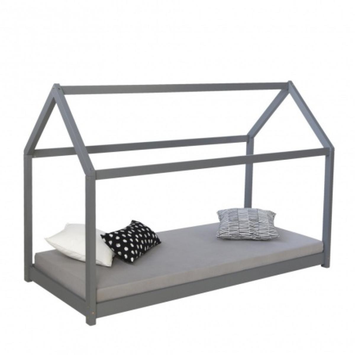 Homestyle4U Lit cabane enfant en bois gris 90 x 200cm