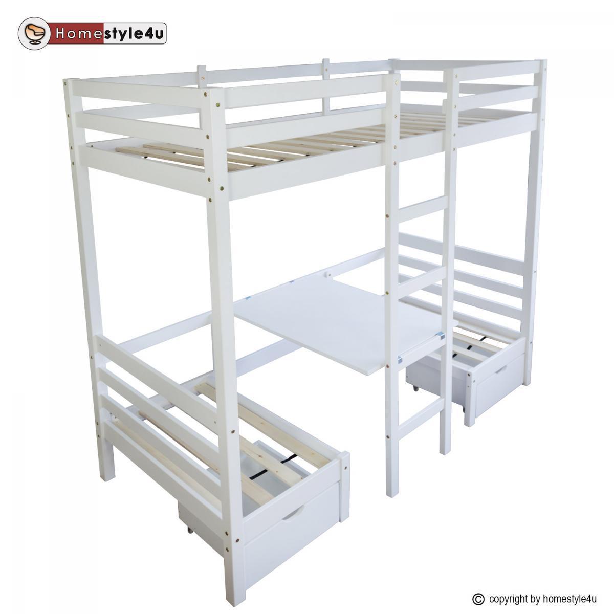 Homestyle4U Lit enfant mezzanine superposé blanc 90x200 pin massif bureau