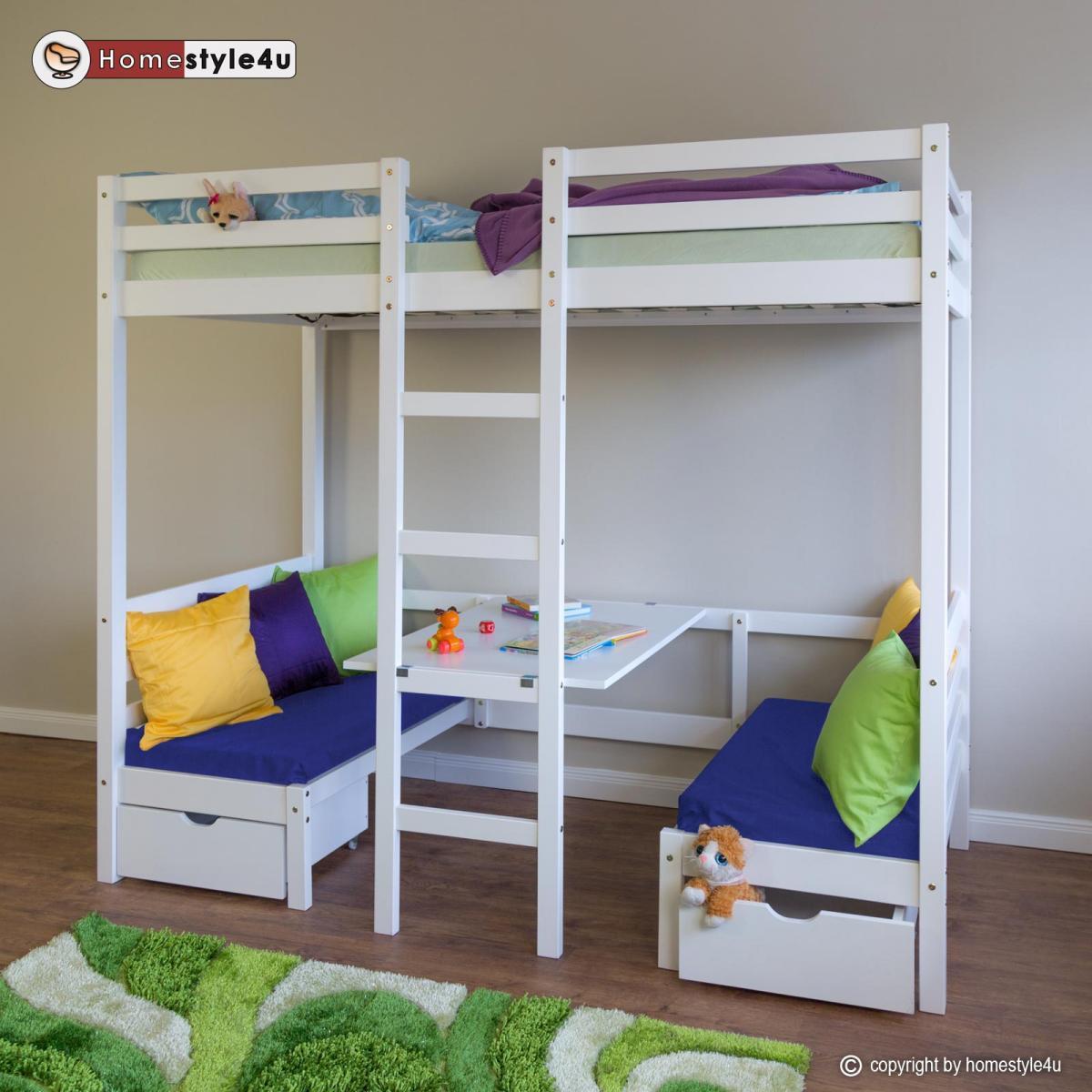Homestyle4U Lit enfant mezzanine superposé blanc 90x200 pin massif bureau avec coussins bleue