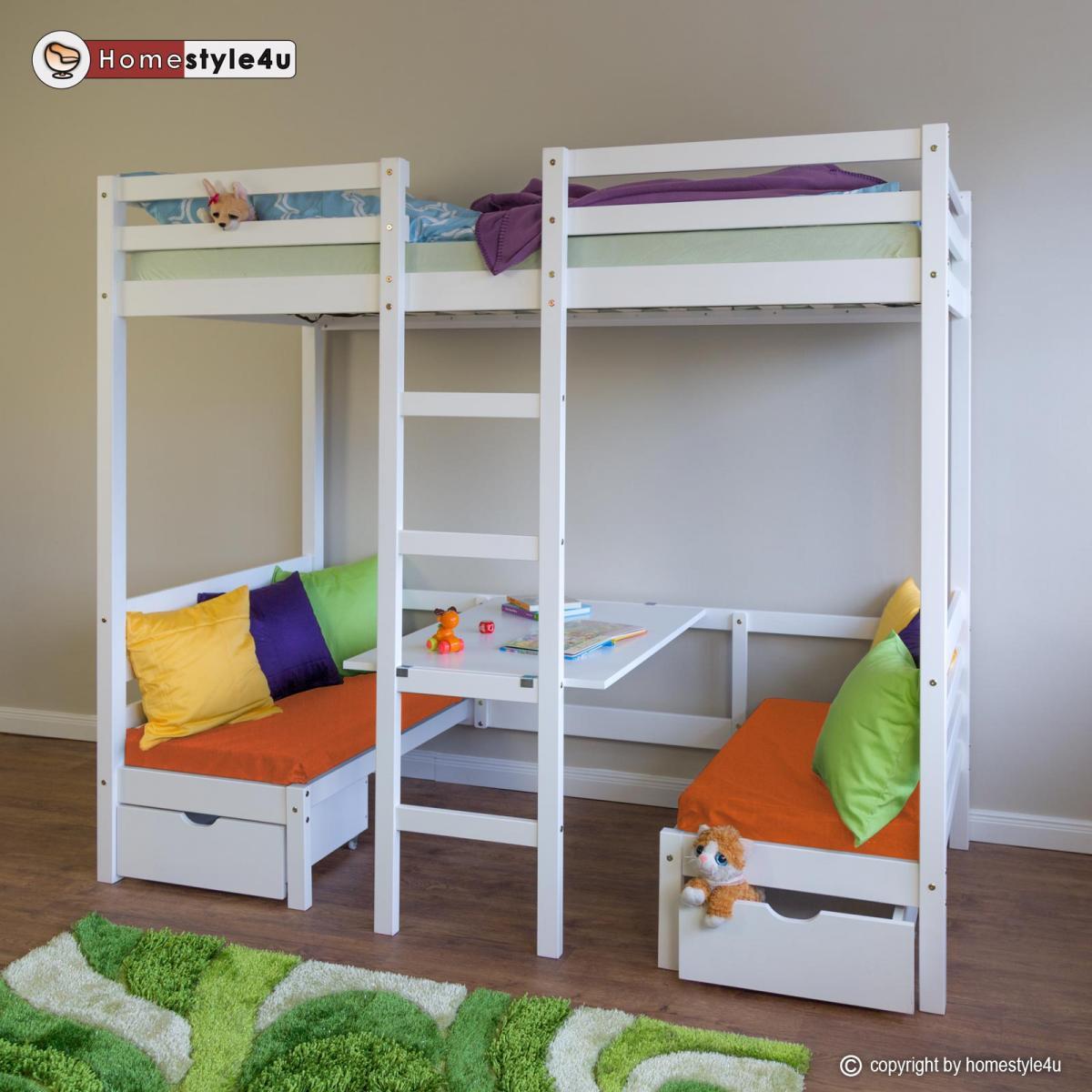 Homestyle4U Lit enfant mezzanine superposé blanc 90x200 pin massif bureau avec coussins oranges