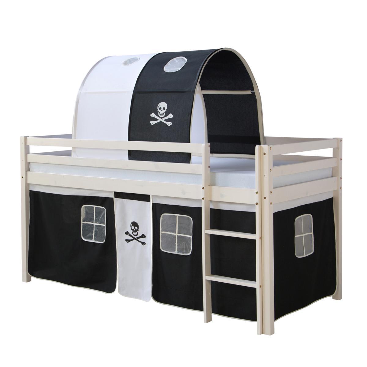 Homestyle4U Lit mezzanine 90x200 avec échelle Tunnel et Rideau Pirate Noir