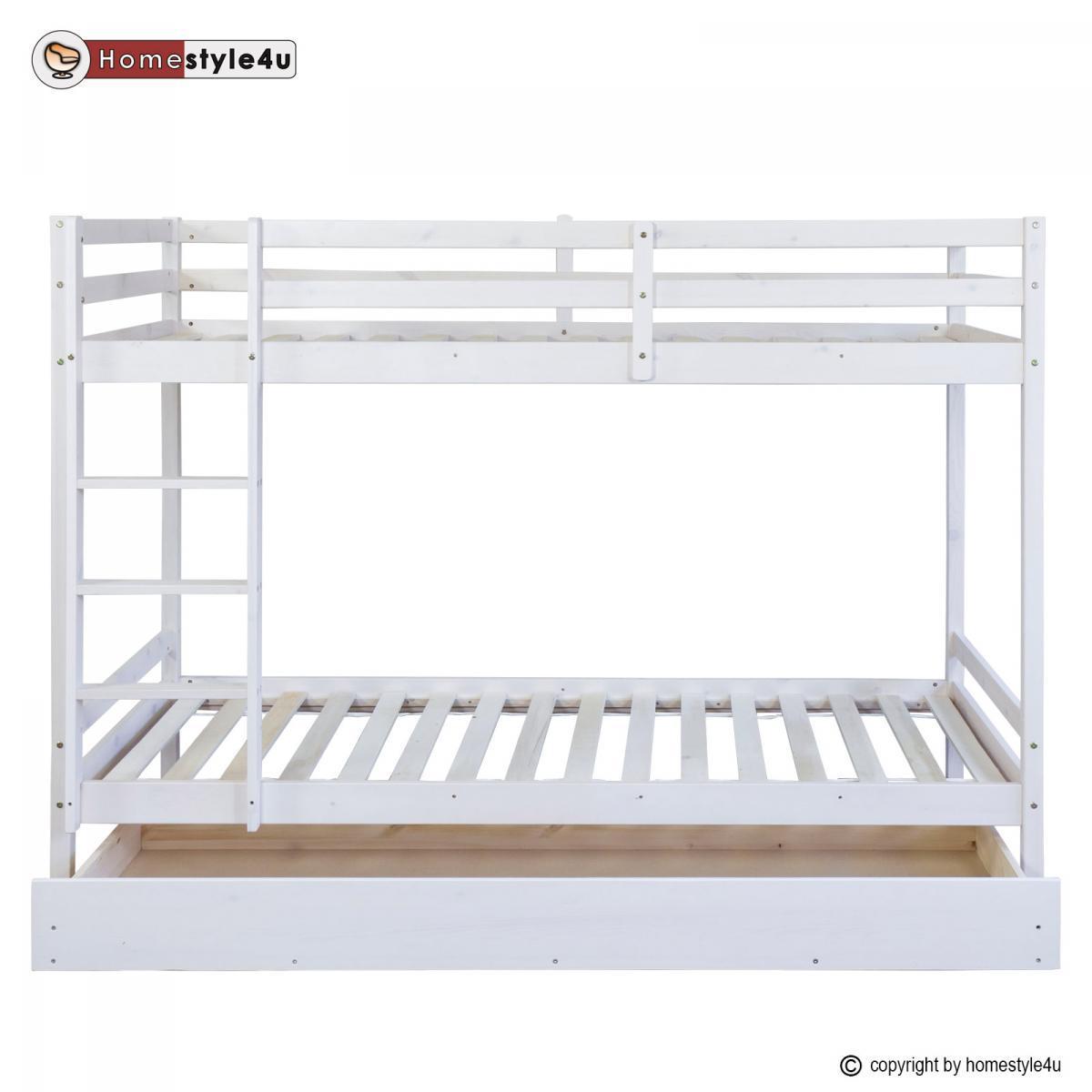 Homestyle4U Lits superpos?s simple blancs 90x200cm avec tiroir de rangement