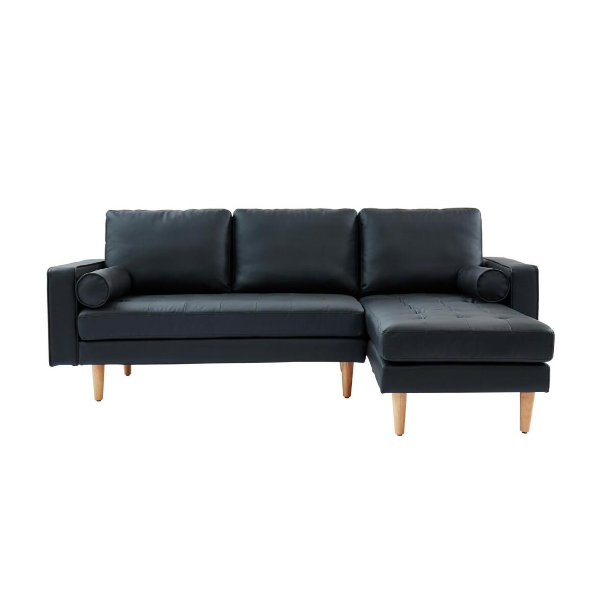 Homifab Canapé d'angle réversible 3 places en simili cuir noir - Collection Charly