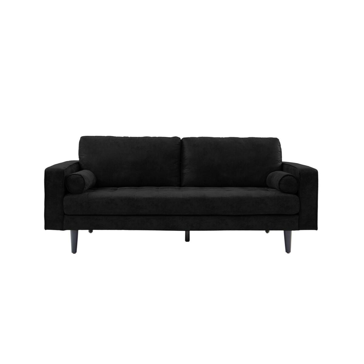Homifab Canapé droit 3 places en simili cuir noir - Collection Charly