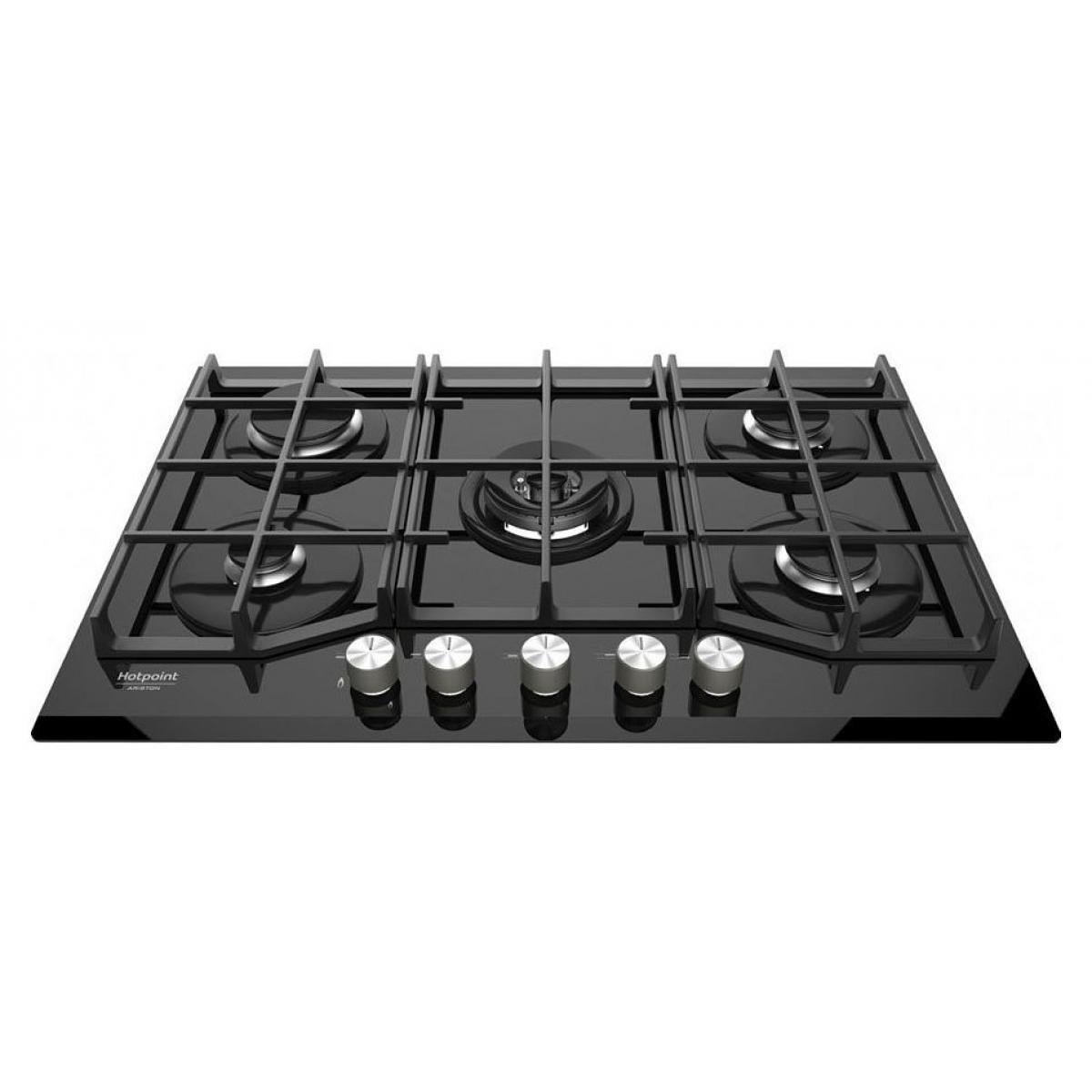 Hotpoint Table de cuisson gaz Hotpoint-Ariston TQG751W/A BK 75cm noir
