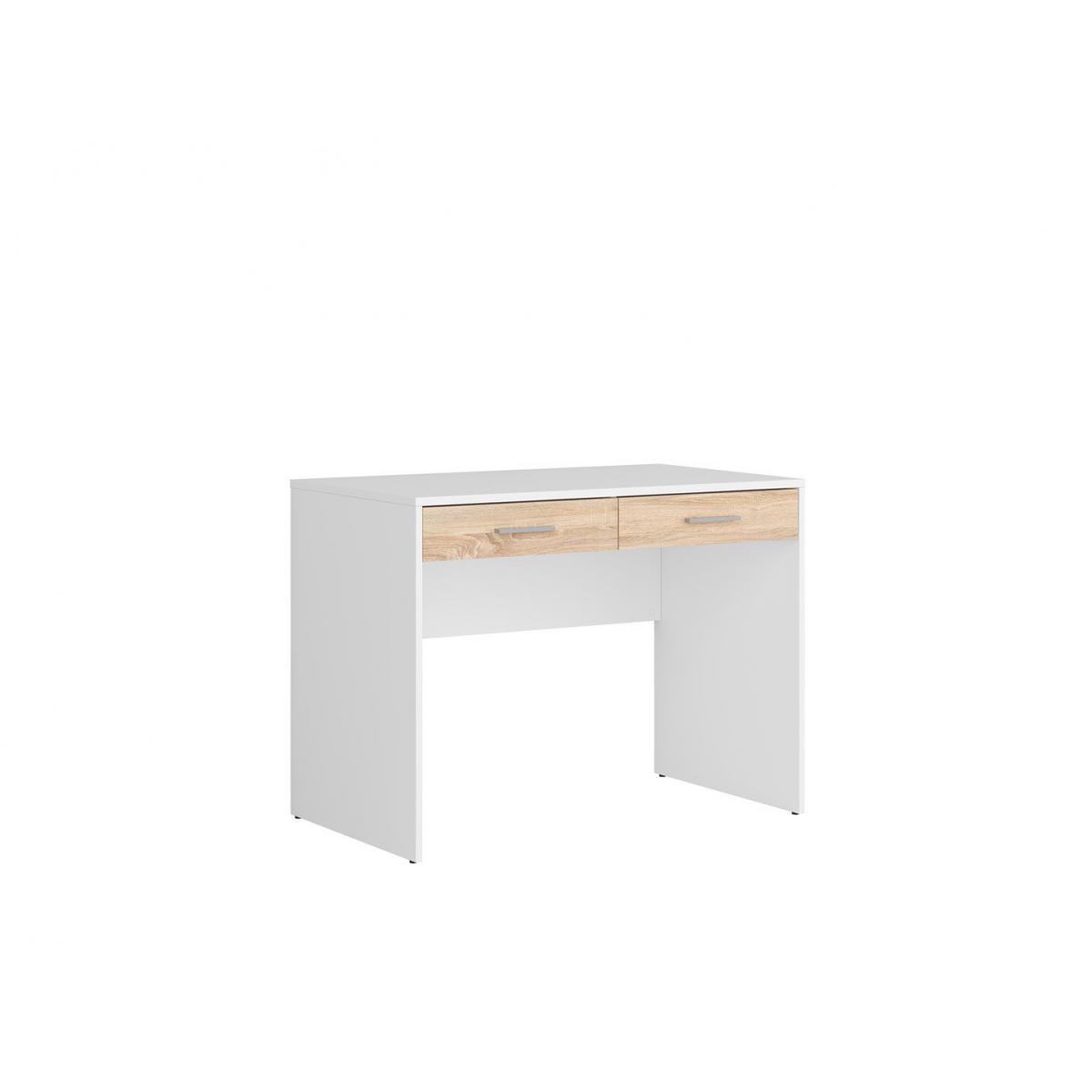 Hucoco AGATTA | Bureau chambre jeune | Style scandinave | 100x76x59 cm| Niche ouverte | 2 Tiroir spacieux - Blanc/Sonoma