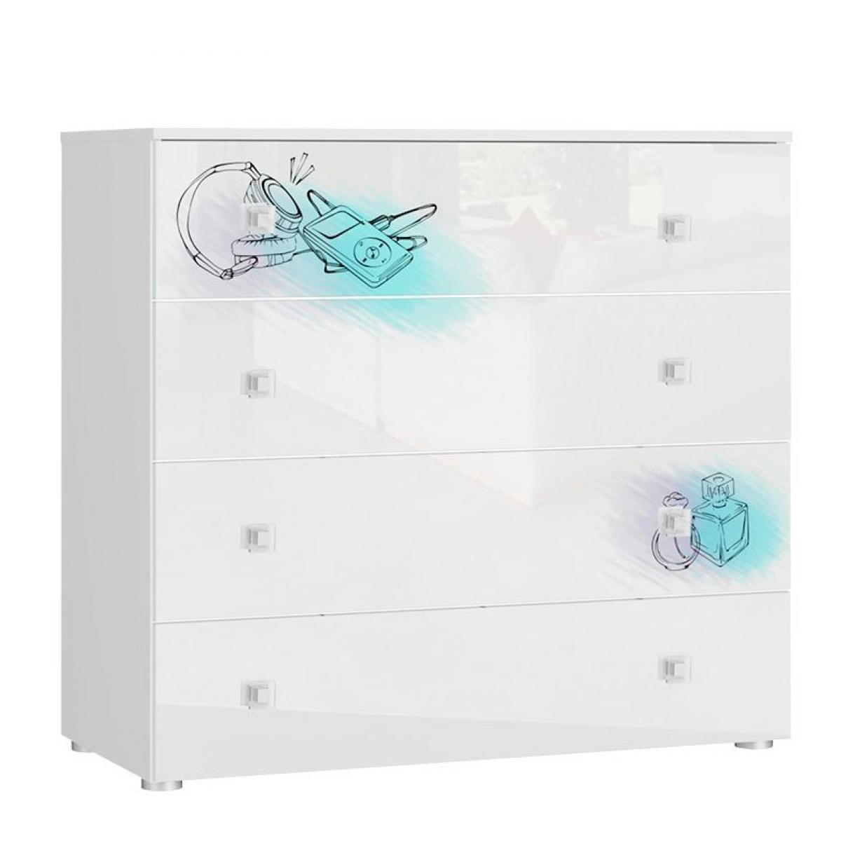 Hucoco BELLIO - Commode de rangement - 4 tiroirs - Mobilier chambre ado enfant - 100x93x47 cm - Finition blanc laquée - Blanc