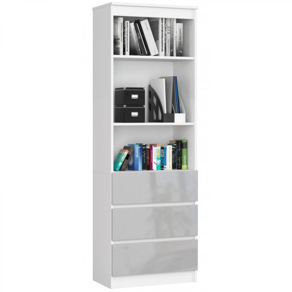Hucoco CARLO - Grande bibliothèque moderne - 2 étagères + 3 tiroirs - 180x60x35cm - Rangement livres/déco - Blanc