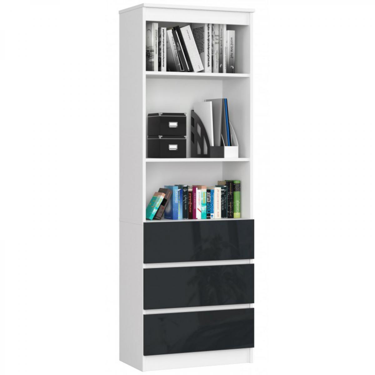 Hucoco CARLO - Grande bibliothèque moderne - 2 étagères + 3 tiroirs - 180x60x35cm - Rangement livres/déco - Gris