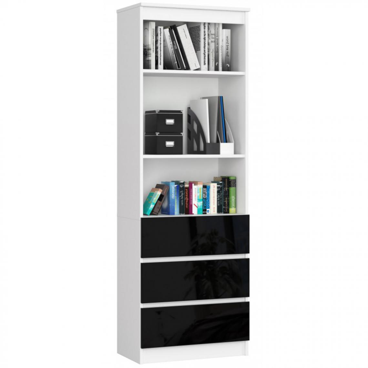 Hucoco CARLO - Grande bibliothèque moderne - 2 étagères + 3 tiroirs - 180x60x35cm - Rangement livres/déco - Noir