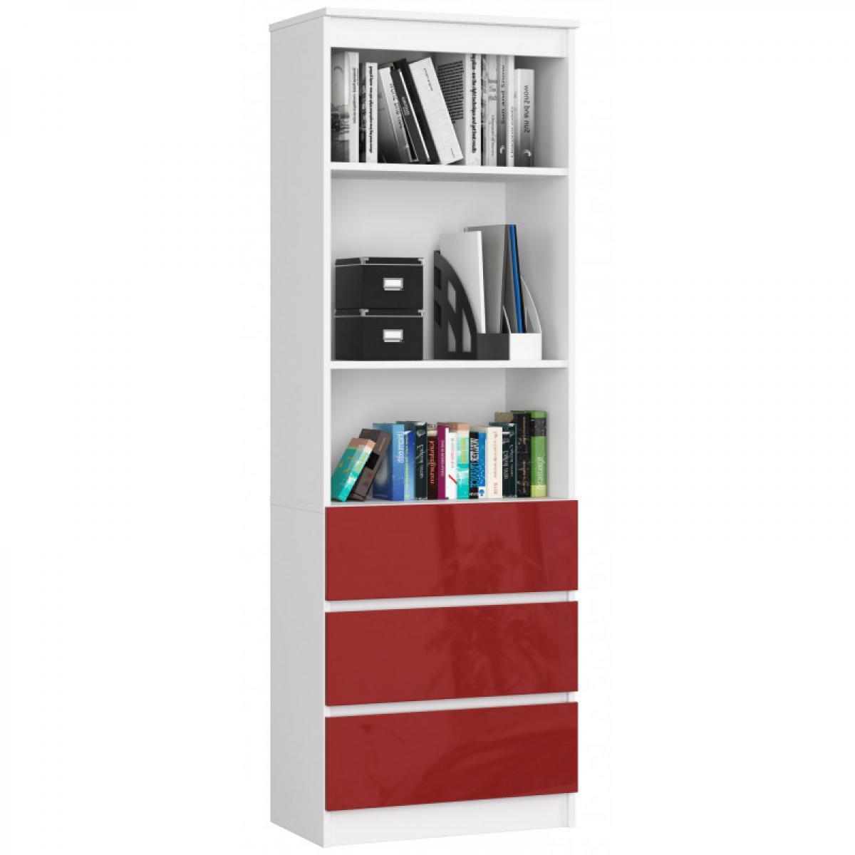 Hucoco CARLO - Grande bibliothèque moderne - 2 étagères + 3 tiroirs - 180x60x35cm - Rangement livres/déco - Rouge