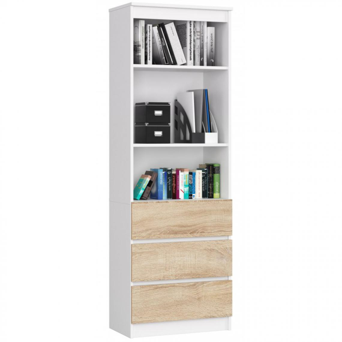 Hucoco CARLO - Grande bibliothèque moderne - 2 étagères + 3 tiroirs - 180x60x35cm - Rangement livres/déco - Sonoma