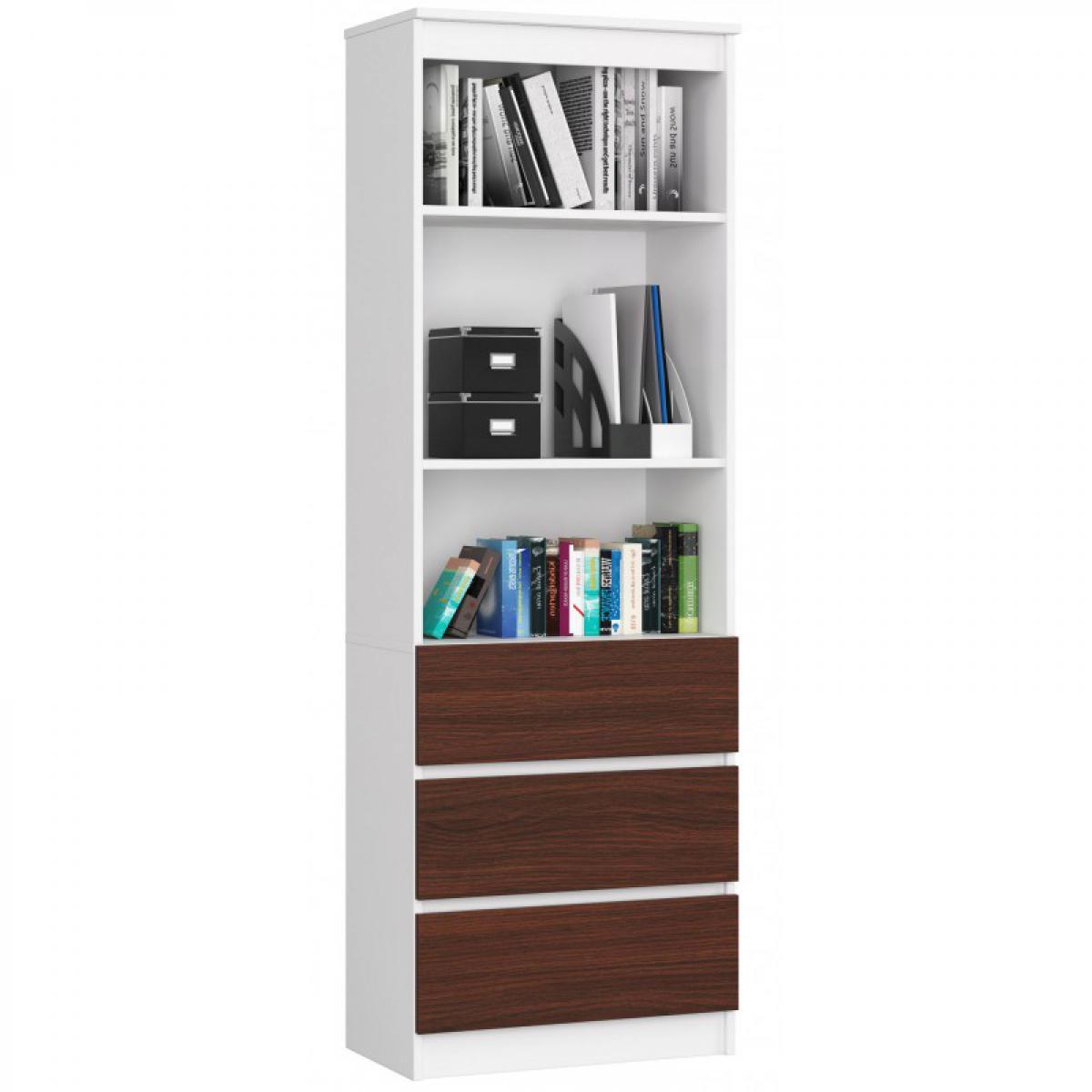 Hucoco CARLO - Grande bibliothèque moderne - 2 étagères + 3 tiroirs - 180x60x35cm - Rangement livres/déco - Wengé