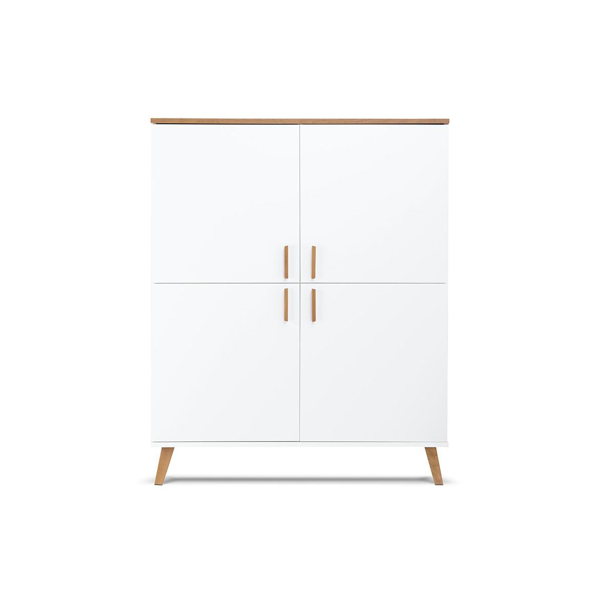 Hucoco FRILI   Armoire style scandinave chambre/entrée/salon   107x134x40 cm   4 portes + 8 compartiments de rangement   Design