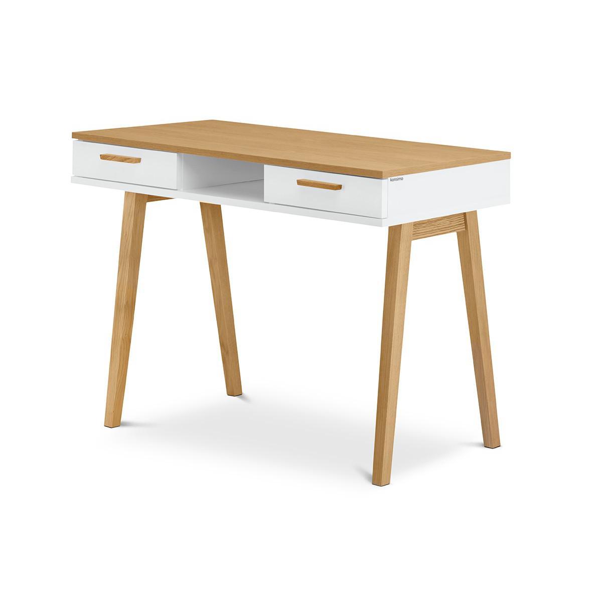 Hucoco FRILI | Bureau informatique style scandinave | 100x75x48 cm | Pieds en bois + 2 tiroirs | Table d'ordinateur design nord