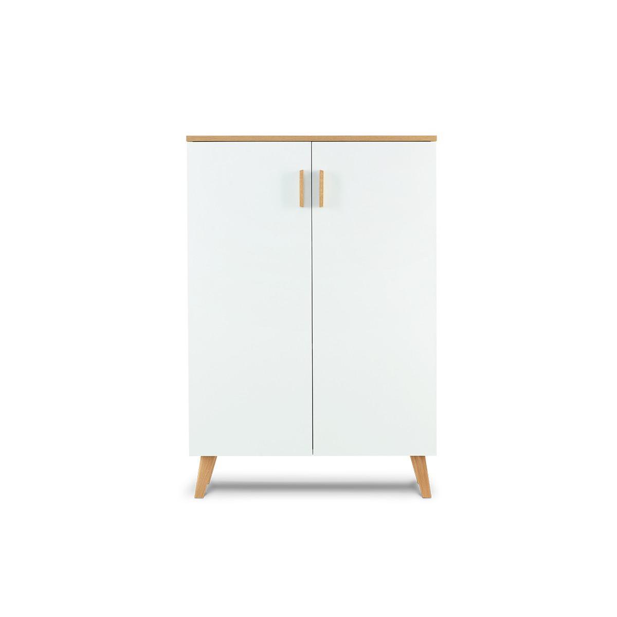 Hucoco FRILI   Commode style scandinave chambre/entrée/salon   80x117x46 cm   2 portes + 3 compartiments de rangement   Design