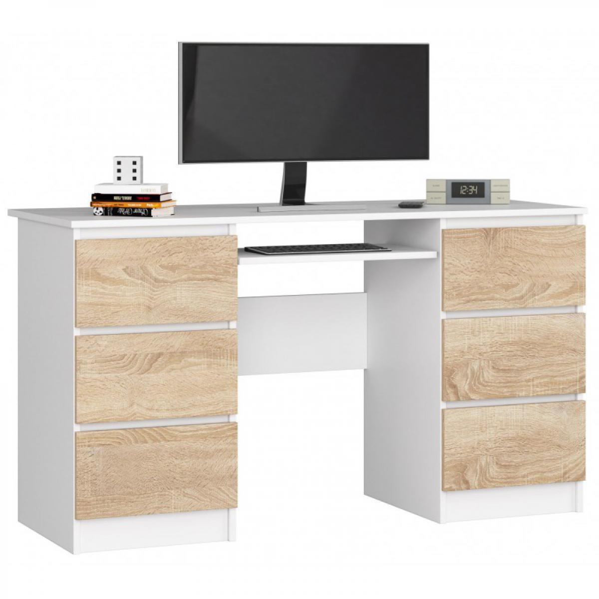 Hucoco GOYA | Bureau informatique moderne 135x77x50 cm | 6 tiroirs support clavier | Table ordinateur multi-rangements - Blanc/