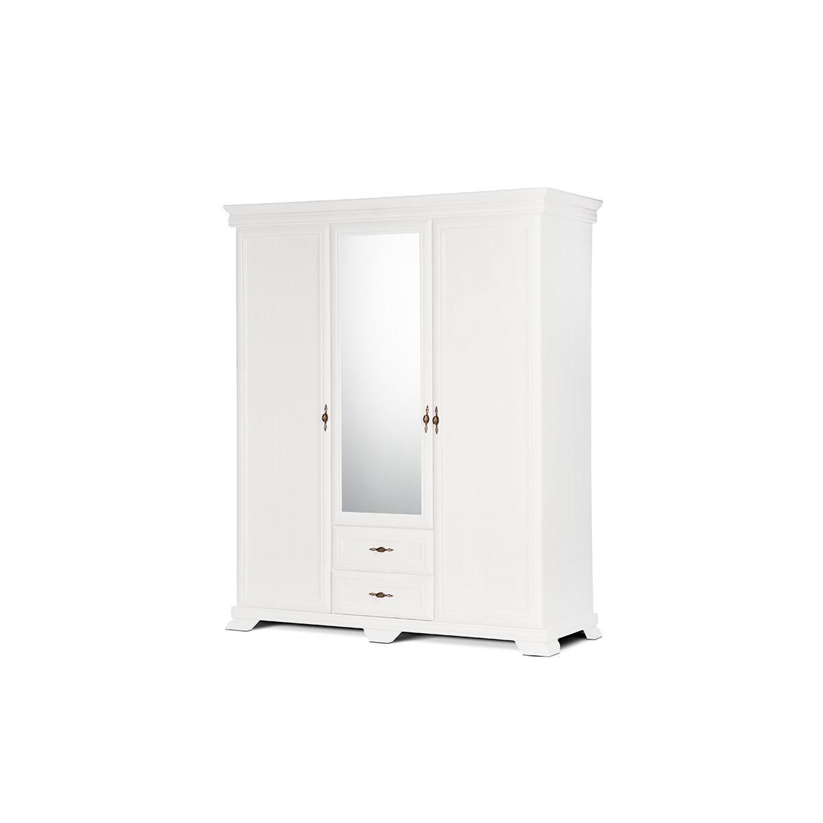 Hucoco IMPERIO   Grande armoire style classique chambre/dressing   158x193x62 cm   3 portes + grand miroir   Penderie rangement