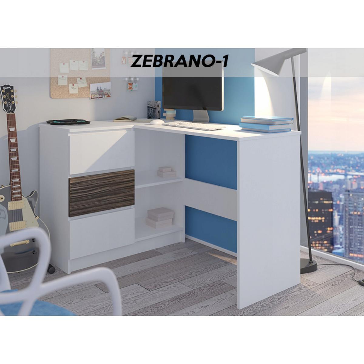 Hucoco KIAN B | Bureau d'angle avec rangements + 3 tiroirs | 112x87x76cm | Table d'ordinateur forme de L - Blanc/Zebrano