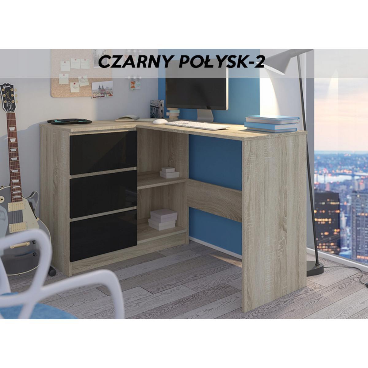 Hucoco KIAN S | Bureau d'angle + rangements + 3 tiroirs | 112x87x76cm | Table d'ordinateur forme de L | Table de travail - Sono