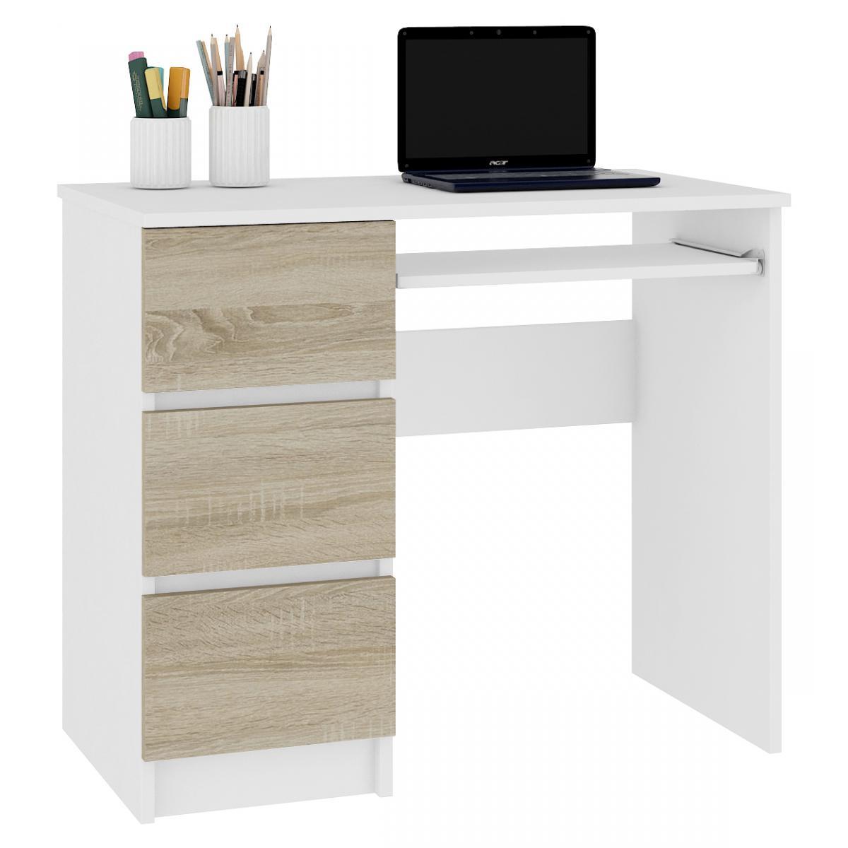 Hucoco MIR | Bureau informatique multimédia moderne 90x77x50 | 3 tiroirs + support clavier | Table ordinateur multi-rangements