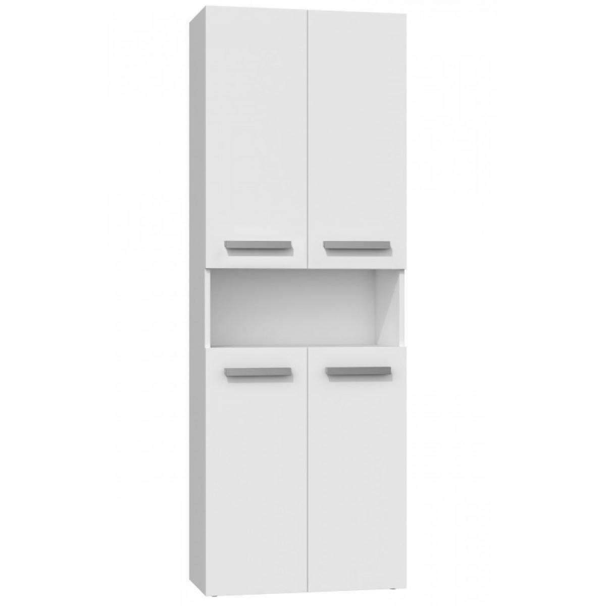 Hucoco MOBY   Armoire de salle de bain avec deux paniers   Poignées minimalistes   174x60x30   Colonne de rangement - Blanc