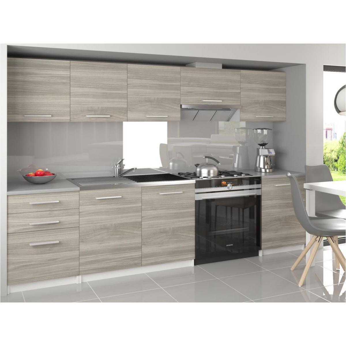 Hucoco NOVIA | Cuisine Complète Linéaire 240/180 cm 7 pcs | Plan de travail INCLUS | Ensemble meubles cuisine - Silver