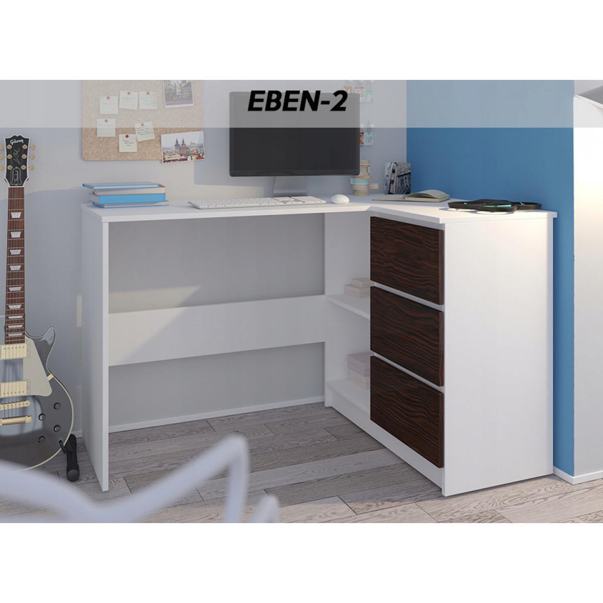 Hucoco REX B | Bureau d'angle avec rangements + 3 tiroirs | 112x87x76cm | Table d'ordinateur forme de L - Blanc/Eben