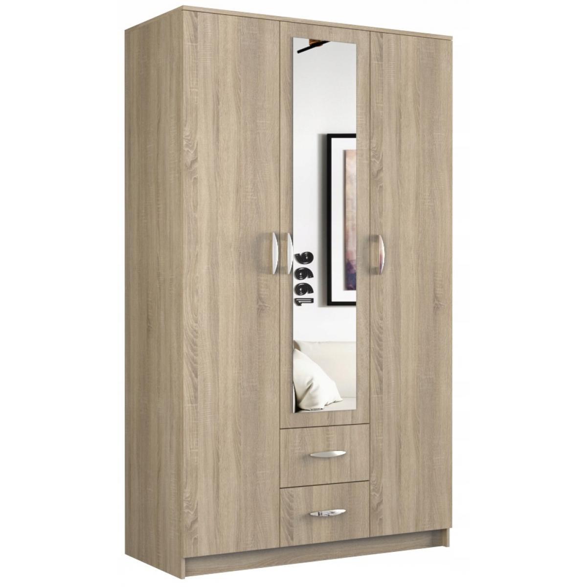 Hucoco ROMA   Grande Armoire chambre bureau   Penderie multifonctions   2 portes   Miroir   2 tiroirs   Meuble de rangement   E