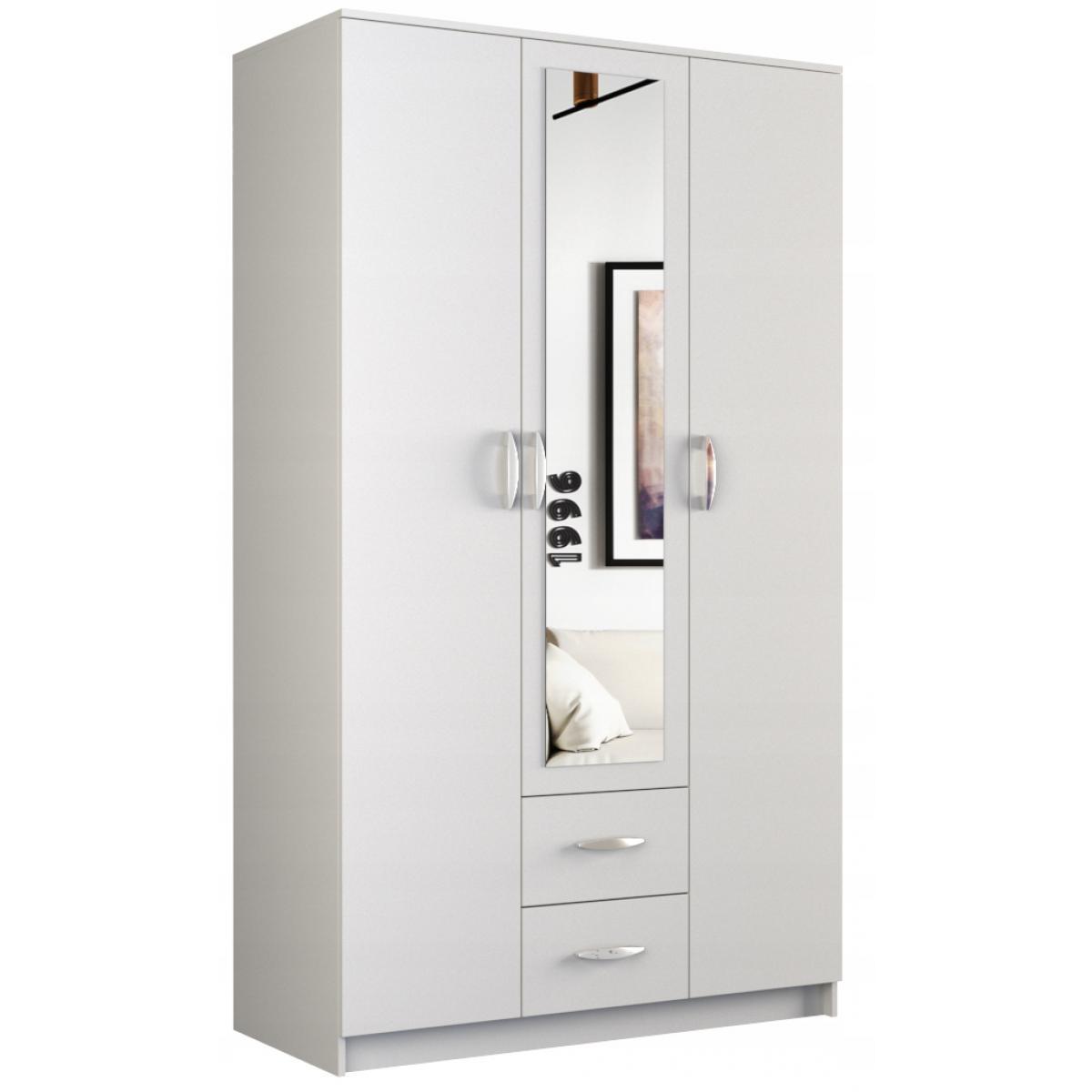 Hucoco ROMA | Petite Armoire chambre bureau | Penderie multifonctions | 2 portes + Miroir +2 tiroirs | Meuble de rangement Dres