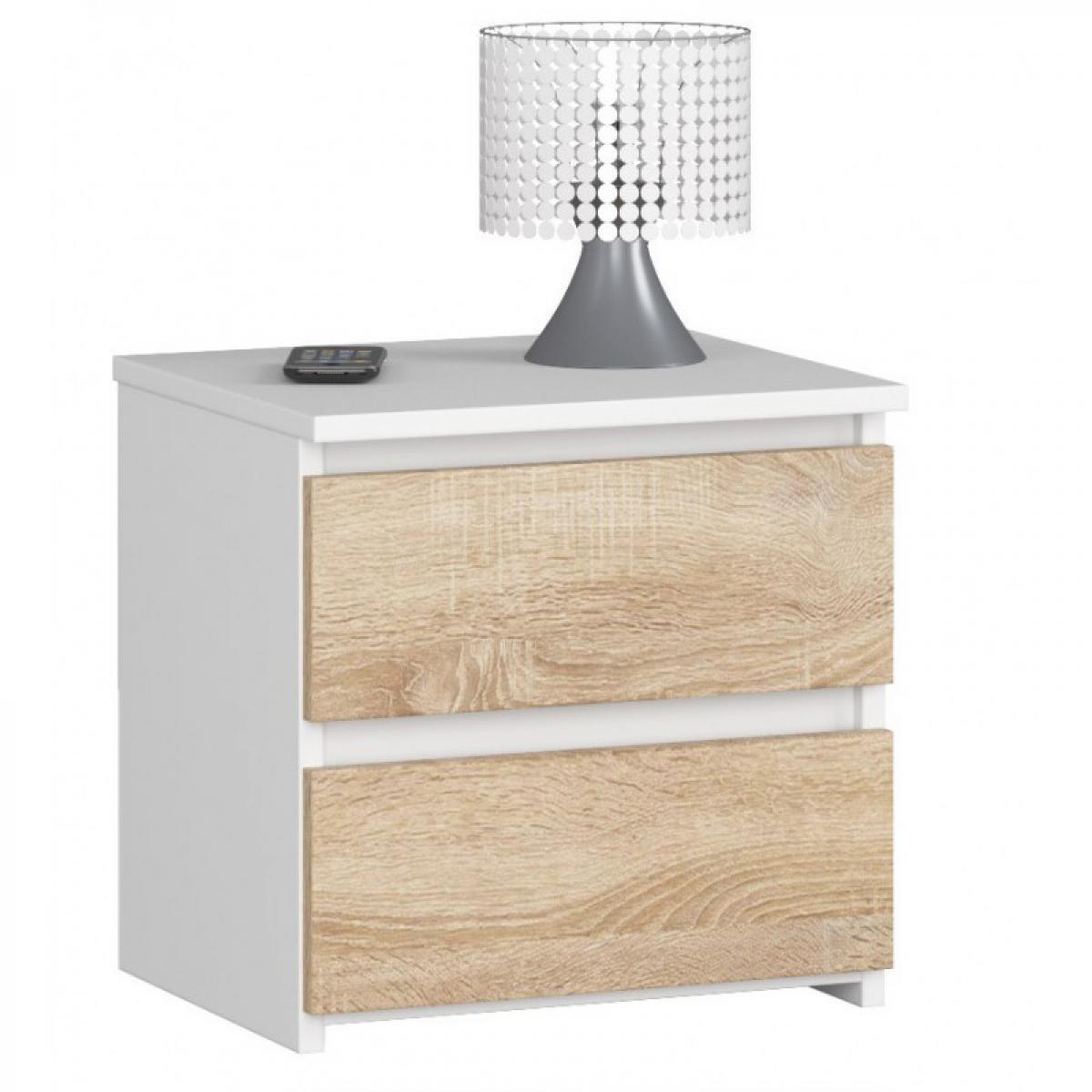 Hucoco SHALA   Table de chevet contemporaine chambre 40x40x35 cm   2 tiroirs   Chevet Chiffonier   Design moderne - Blanc