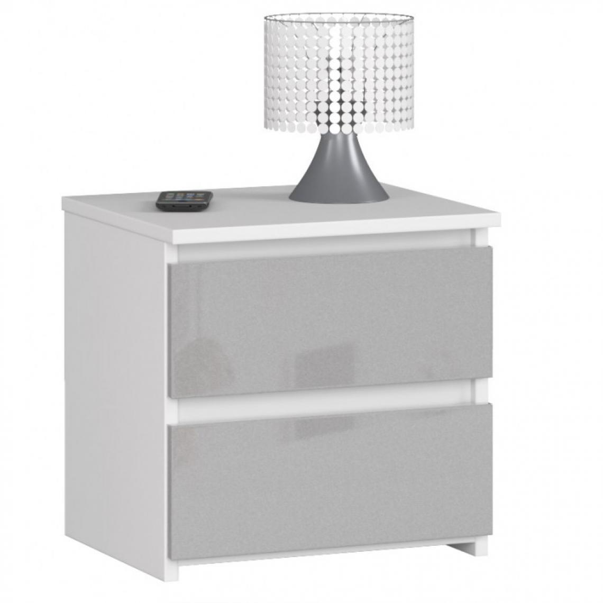 Hucoco SHALA   Table de chevet contemporaine chambre 40x40x35 cm   2 tiroirs   Chevet Chiffonier   Design moderne - Gris