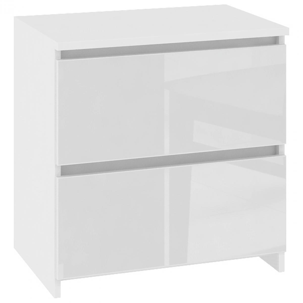 Hucoco SHALA   Table de chevet contemporaine chambre 40x40x35 cm   2 tiroirs larges   Chevet   Design moderne - Blanc Laqué