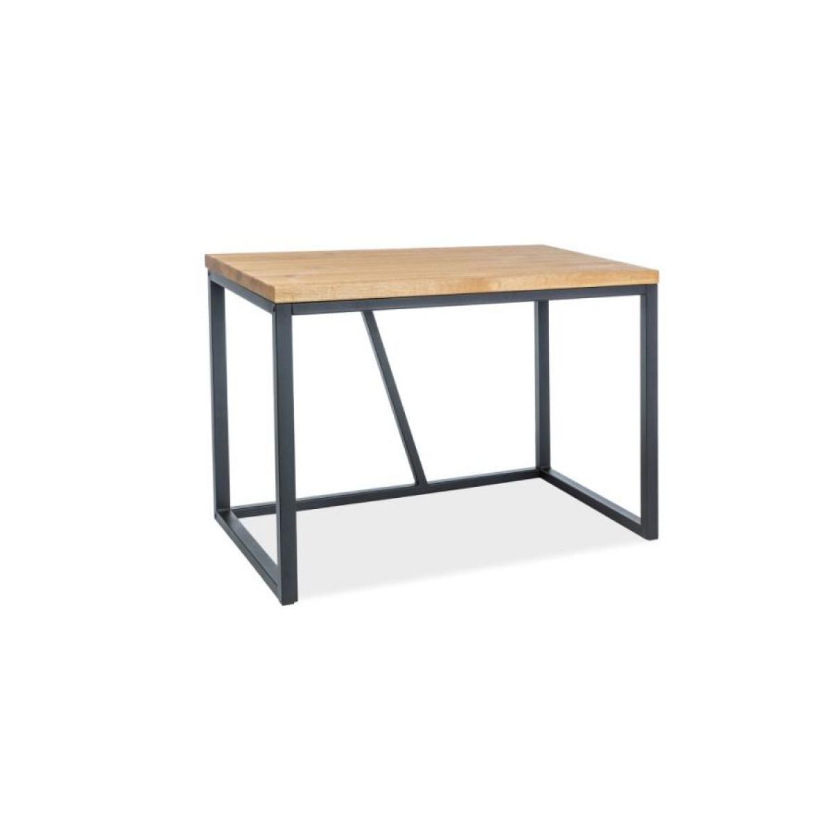 Hucoco SILDIO | Bureau d'ordinateur moderne style industriel | Dimensions 75x110x60 | Plateau en bois massif | Table d'ordinate