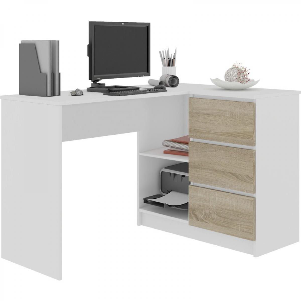 Hucoco SUNDAR | Bureau informatique d'angle moderne 124x85x77 | 3 tiroirs + 2 grandes niches | Table ordinateur multi-rangement