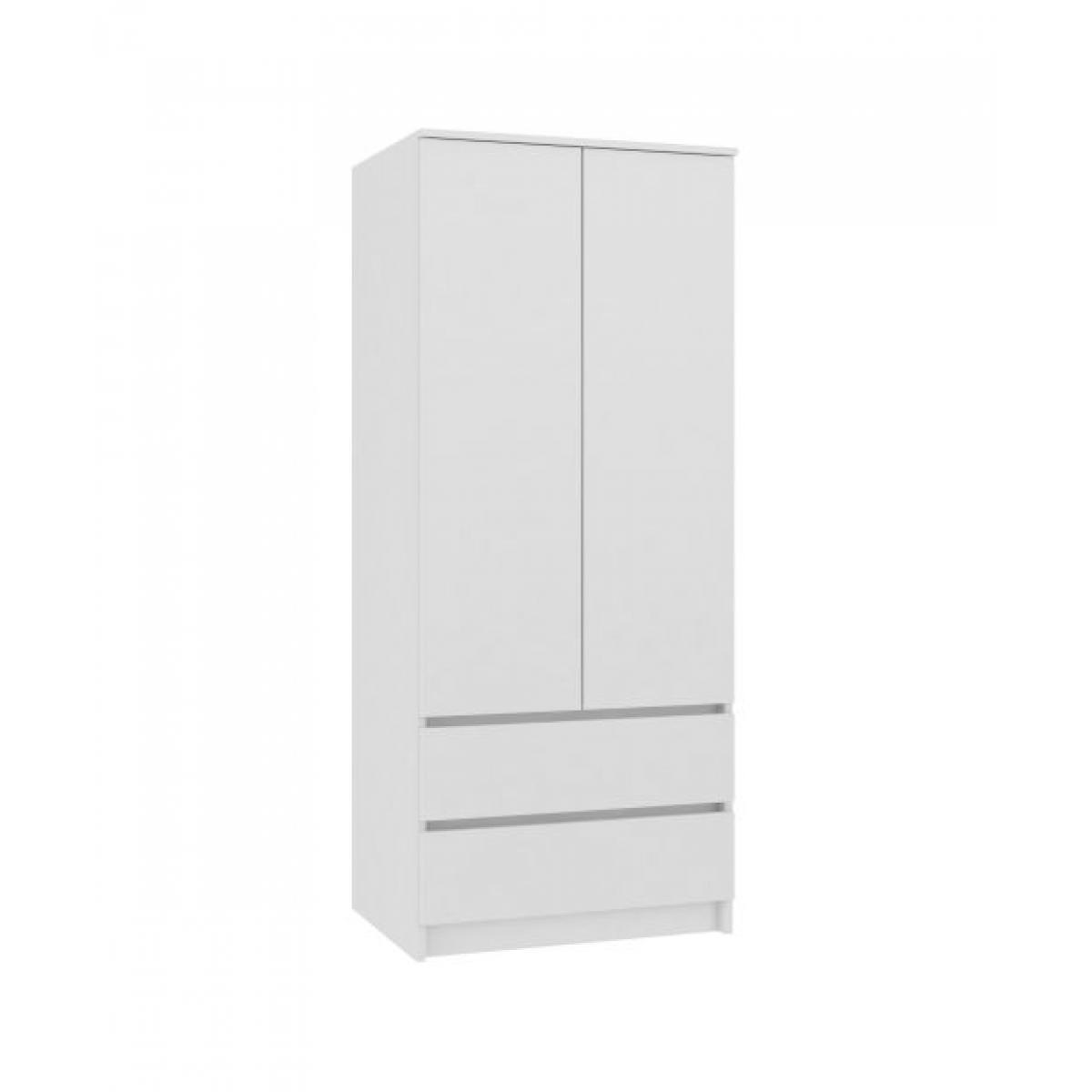 Hucoco TURIN   Armoire chambre bureau   Penderie multifonctions   2 portes   2 grands tiroirs   Meuble de rangement   Dressing