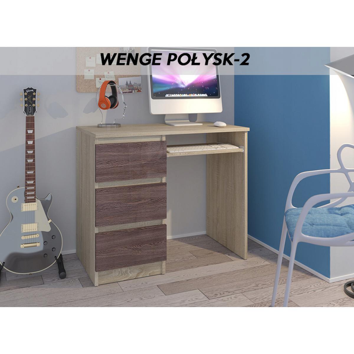 Hucoco YORK S2L| Bureau moderne informatique d'ordinateur 96x50x76 - Chambre Ado - Support clavier/3 tiroirs - Mobilier travail