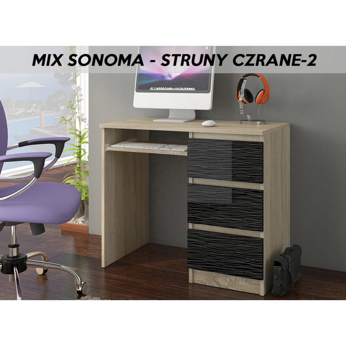 Hucoco YORK S2R| Bureau moderne informatique d'ordinateur 96x50x76 | Chambre Ado | Support clavier/3 tiroirs | Mobilier travail