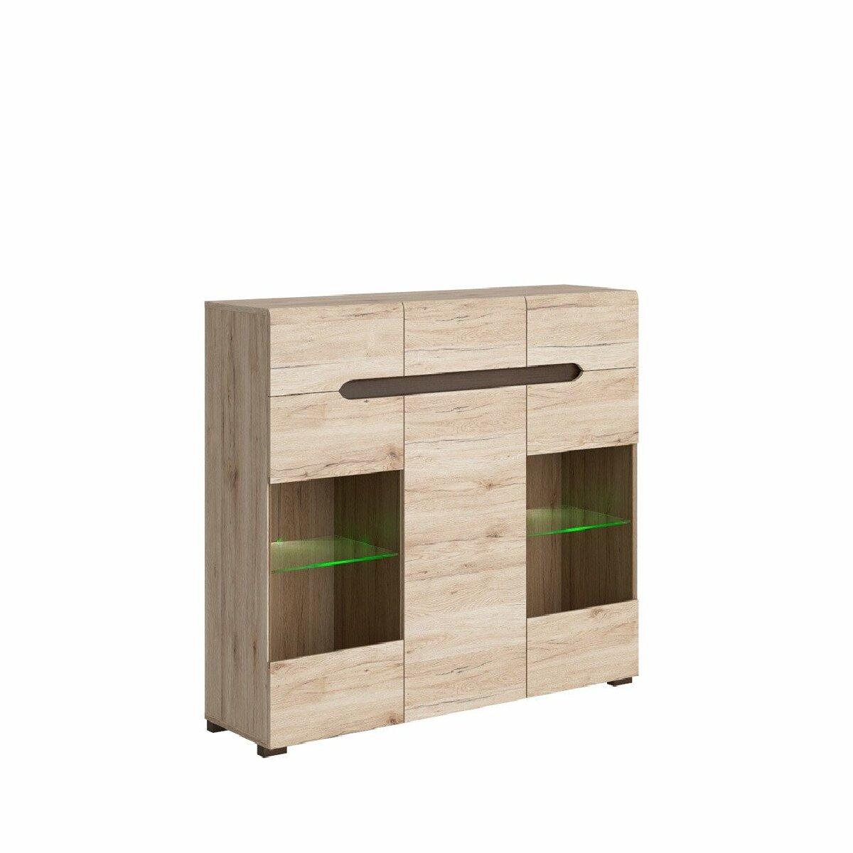 Hucoco SUZANNI   Buffet pour salon/ chambre adulte   Style scandinave   150 x 104,5 x 41,5 cm   Tiroirs   Portes vitrées - Chên