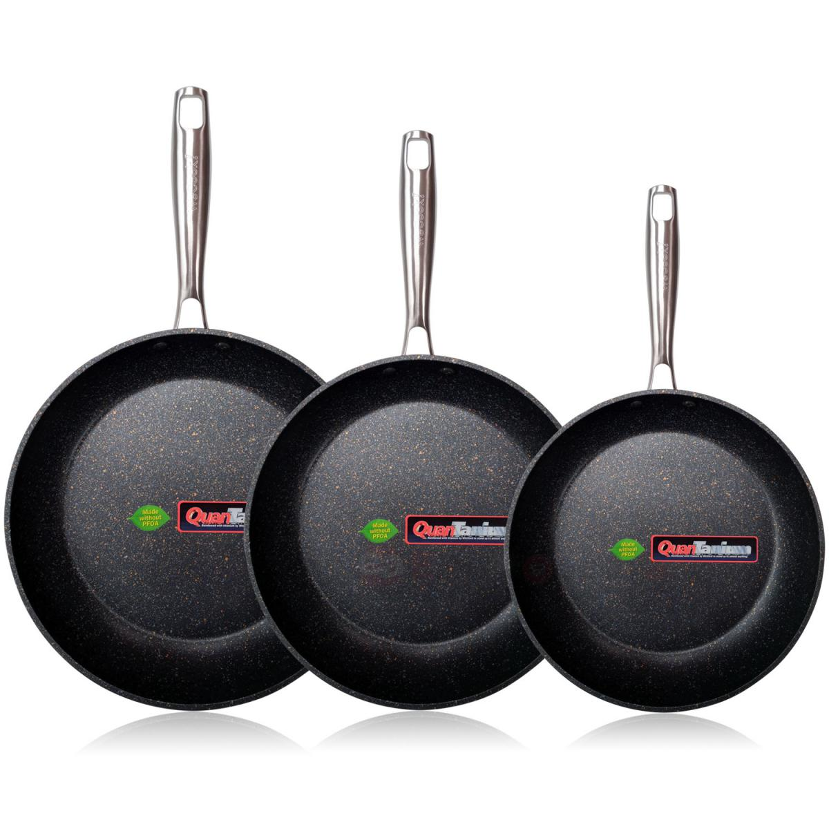 Icook Lot de 3 casseroles 18-20-24cm Aluminium forgé induction Titane antiadhésif Wecook Ecochef
