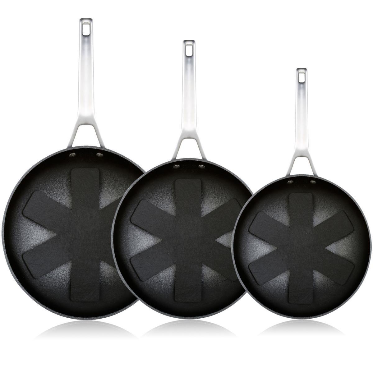 Icook Lot de 3 casseroles 20-24-28cm Aluminium forgé induction Titane antiadhésif Wecook Ecosteel