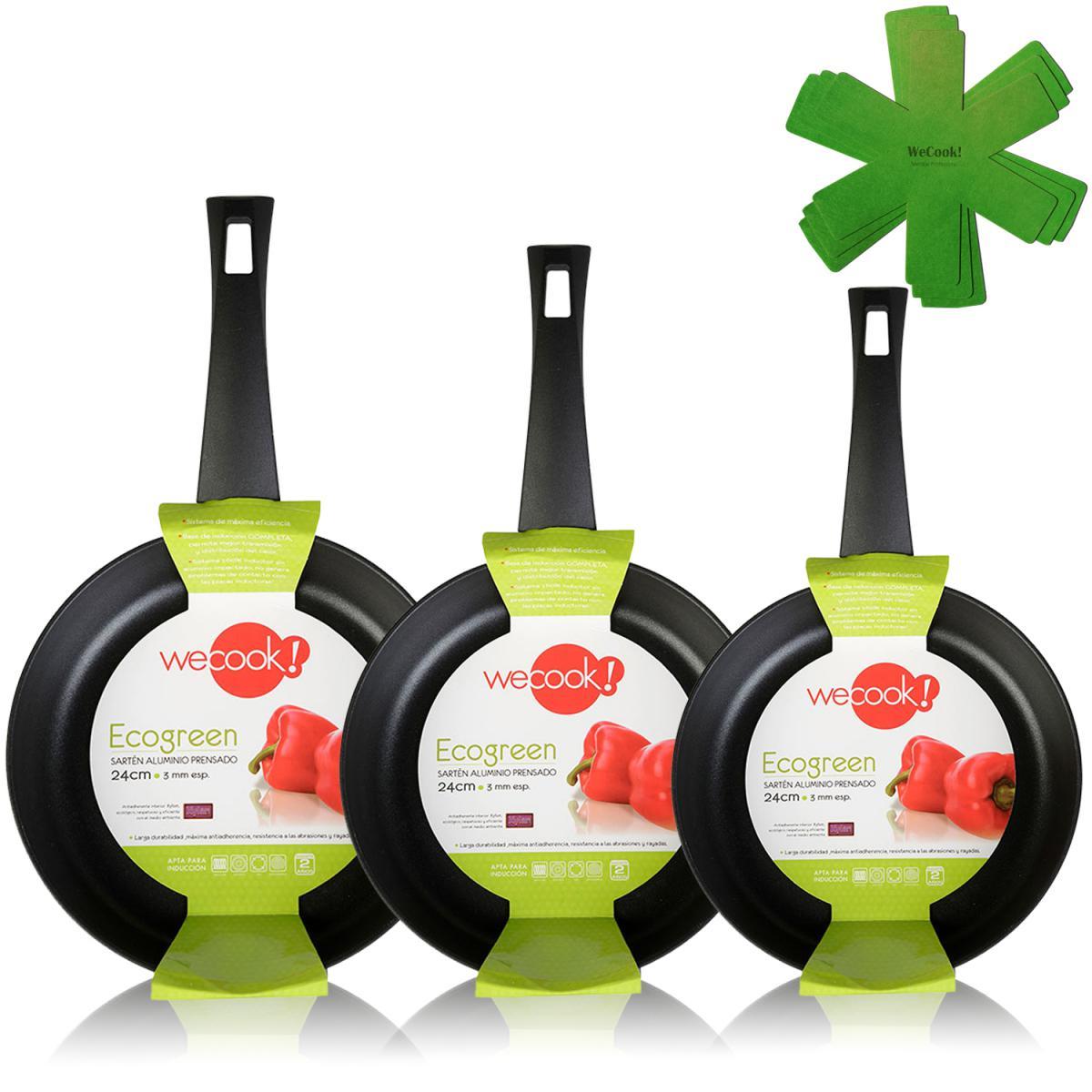 Icook Lot de 3 poêles 18-20-24 cm induction aluminium pressé antiadhésif écologique Wecook Ecogreen