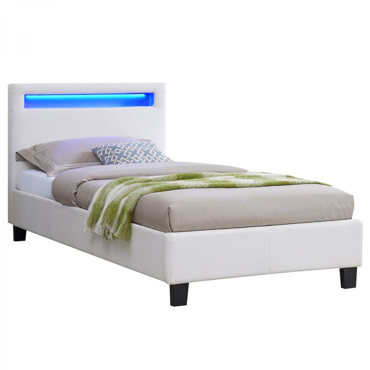 Idimex Lit simple LUCENO, 90 x 190 cm, avec LED intégrées et sommier, revêtement synthétique blanc
